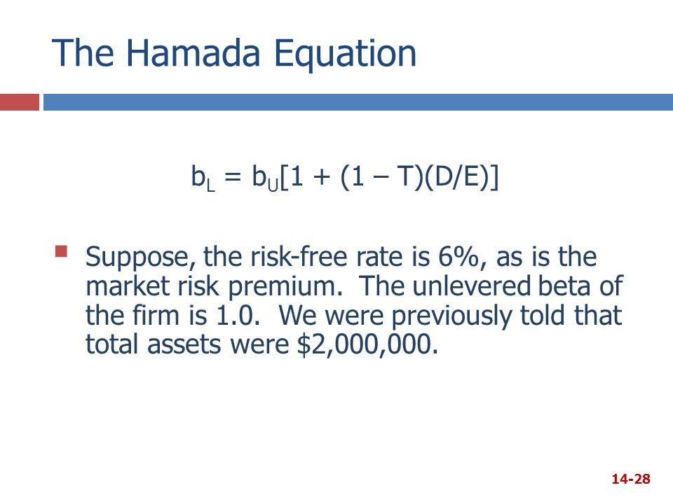 The Hamada Equation bL = bU[1 + (1 – T)(D/E)]